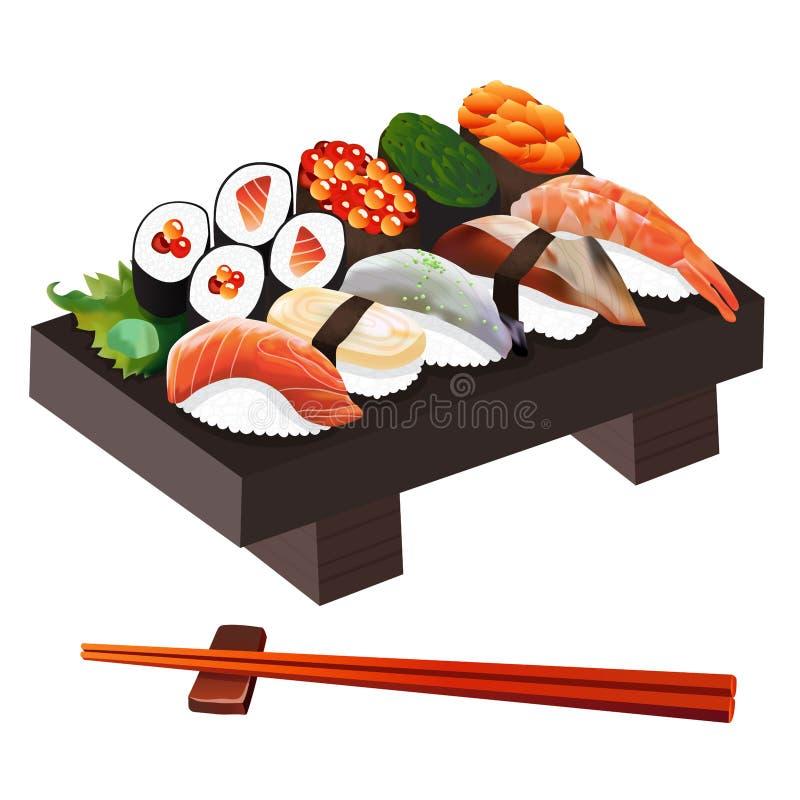 食物例证:日本食物例证 向量例证