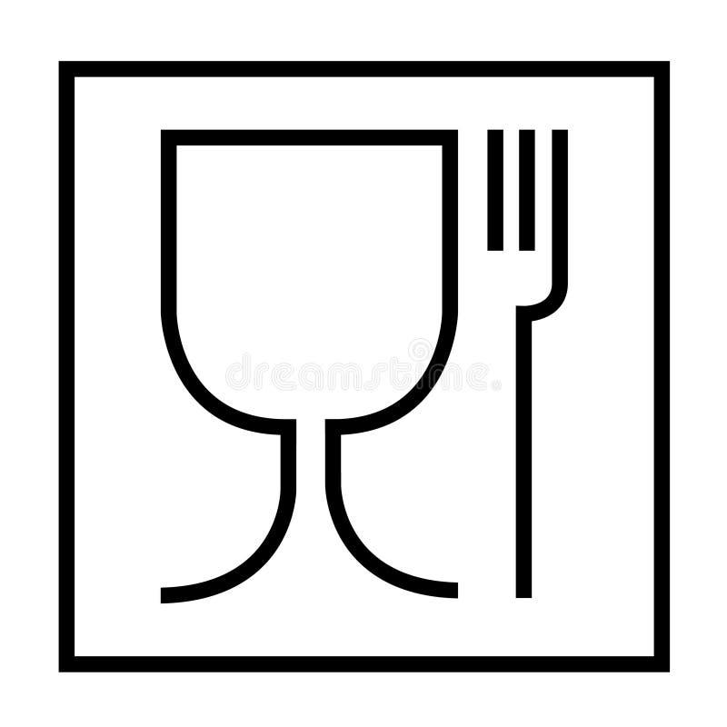 食物保险柜标志 食物安全材料的国际象是酒杯和叉子标志 在立方体的图片