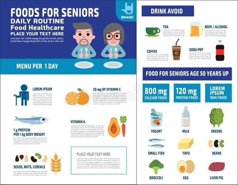 食物健康传染媒介infographic元素象小册子概念 库存例证
