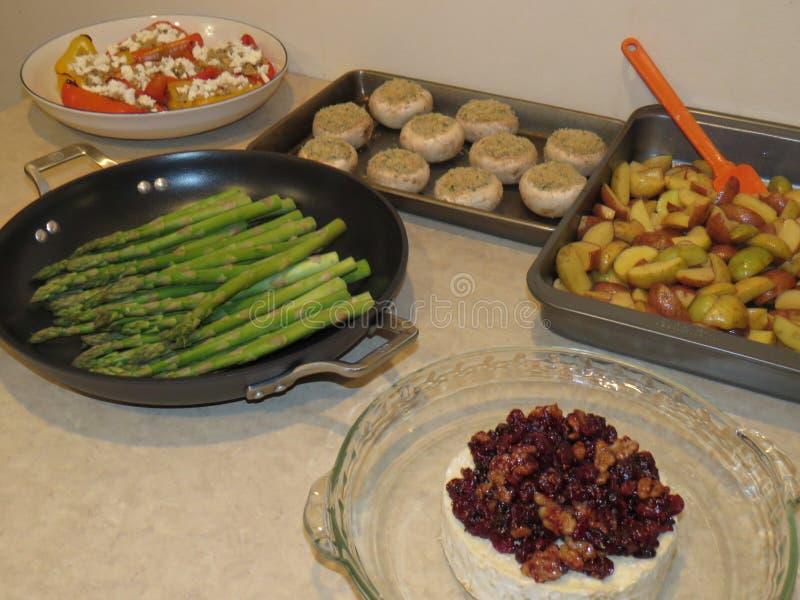 食物光彩的食物,为烤箱准备 免版税库存照片