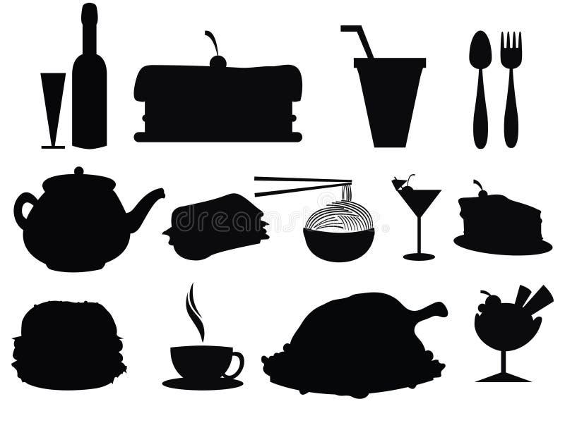 食物剪影 向量例证 图片 包括有 蛋糕 饮料 果子 食物 附庸风雅 艺术 设计 汉堡 投反对票