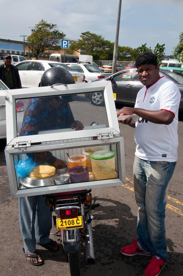 食物卖主在Flacq,毛里求斯 库存照片