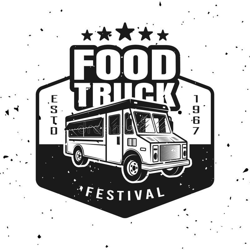 食物卡车传染媒介单色象征,徽章,标签 向量例证