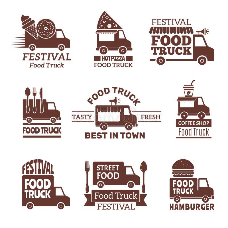 食物卡车商标 街道节日搬运车快速的承办酒席室外厨房传染媒介标记并且证章单色样式 向量例证
