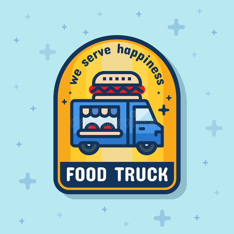 食物卡车服务徽章横幅 向量例证
