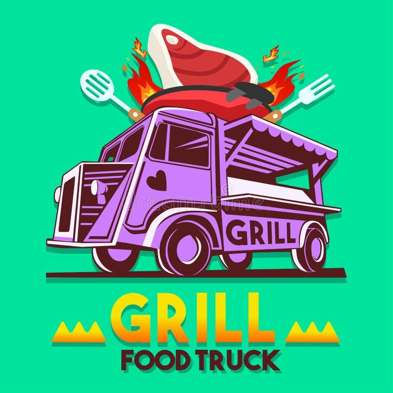 食物卡车格栅BBQ快速的送货业务传染媒介商标 向量例证