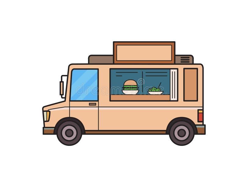 食物卡车用汉堡和沙拉在柜台 在空白背景的查出的图象 也corel凹道例证向量 平的样式 皇族释放例证