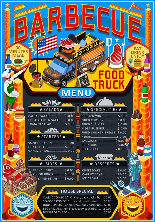食物卡车菜单街道食物格栅BBQ节日传染媒介海报 皇族释放例证