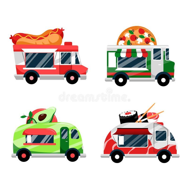 食物卡车集合 传染媒介平的动画片例证 街道食物节日和公共饮食商业、象和设计元素 向量例证