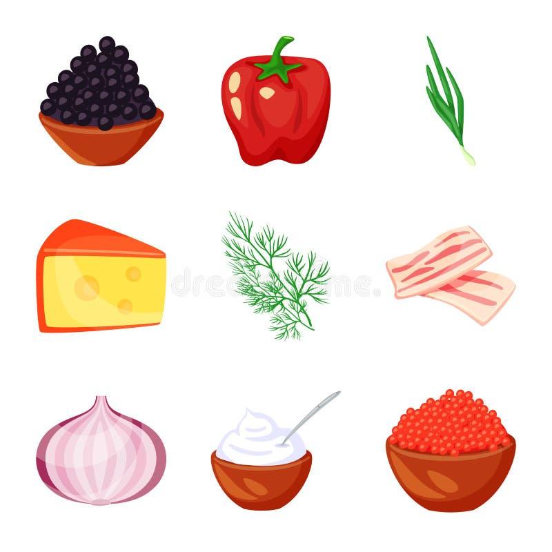 食物和味道象传染媒介设计  食物和成份股票简名的汇集网的 库存例证