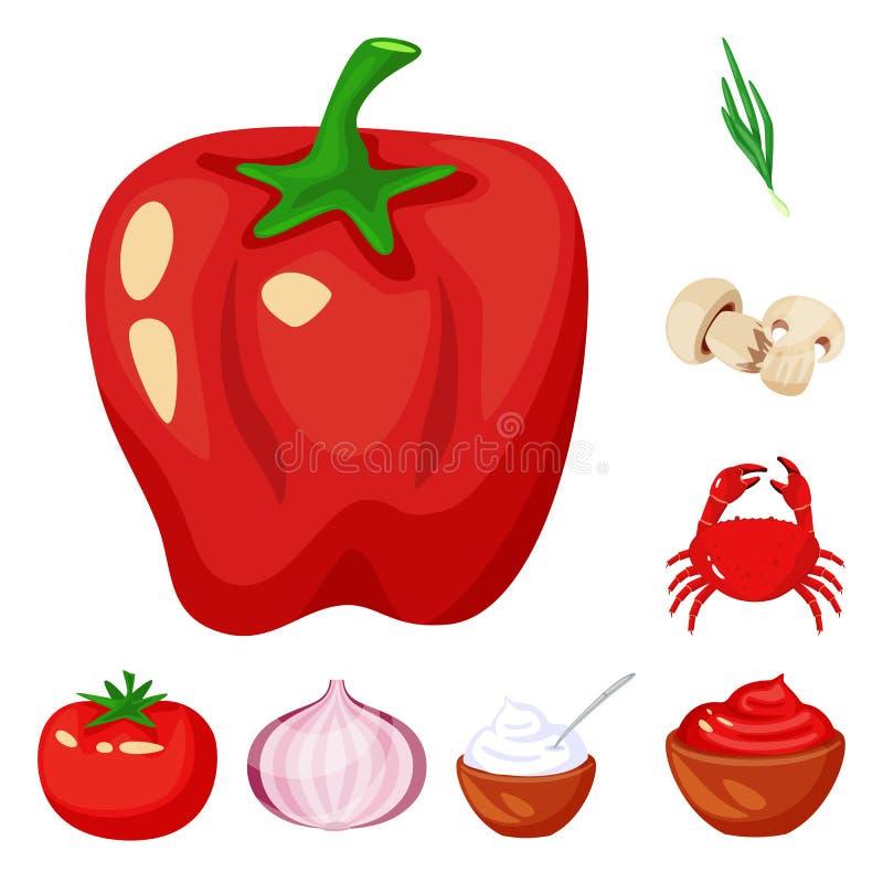 食物和味道象的传染媒介例证 食物和成份股票的传染媒介象的汇集 库存例证