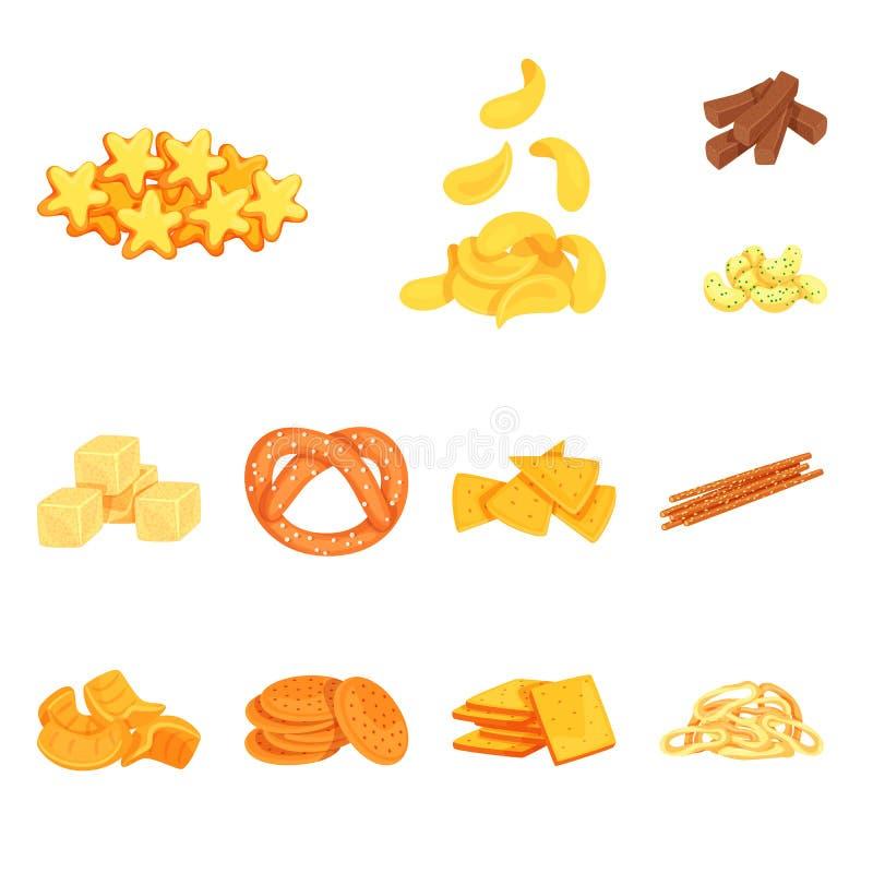 食物和嘎吱咬嚼的商标传染媒介设计  食物和味道股票简名的汇集网的 库存例证