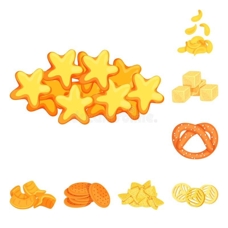 食物和嘎吱咬嚼的商标传染媒介设计  o 库存例证