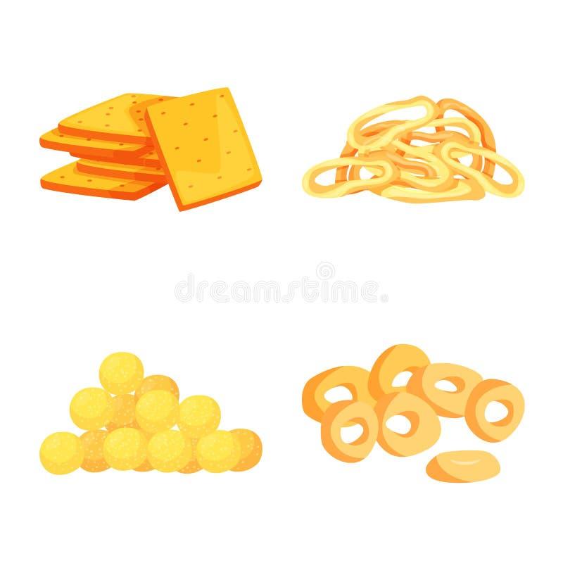 食物和嘎吱咬嚼的商标的传染媒介例证 设置食物和味道股票的传染媒介象 皇族释放例证