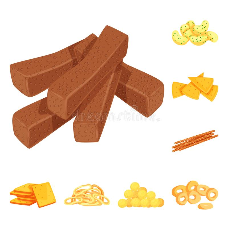 食物和嘎吱咬嚼的标志传染媒介设计  设置食物和味道储蓄传染媒介例证 库存例证
