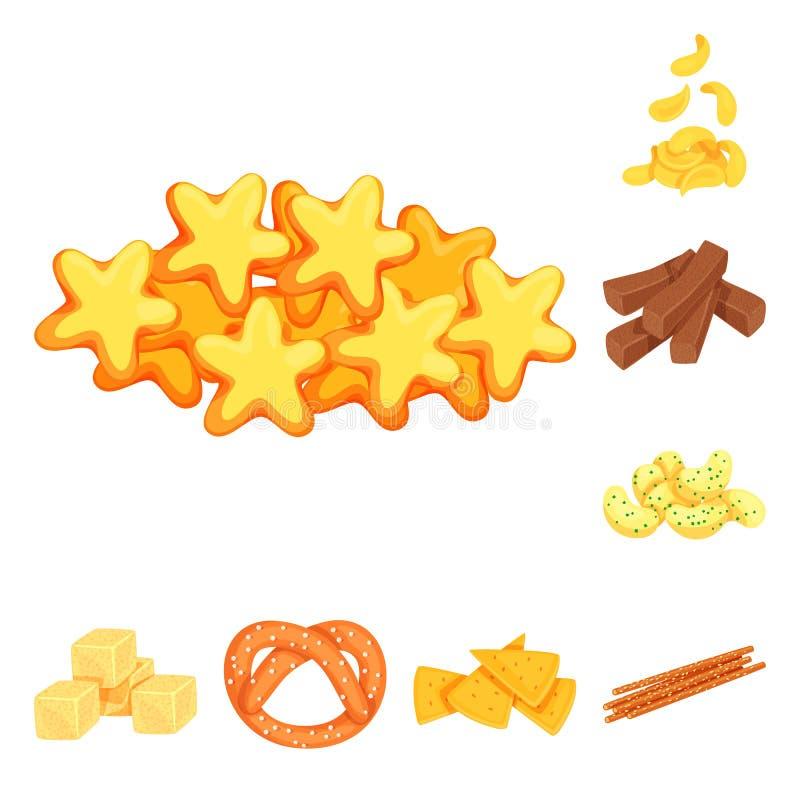 食物和嘎吱咬嚼的标志传染媒介设计  设置食物和味道股票的传染媒介象 皇族释放例证
