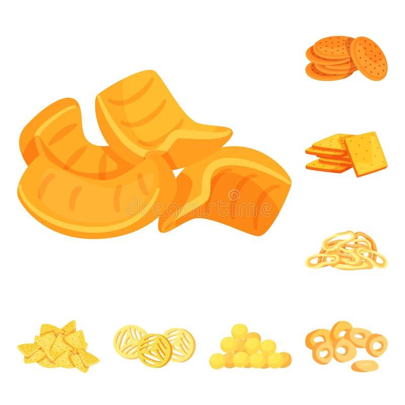 食物和嘎吱咬嚼的标志被隔绝的对象  设置食物和味道储蓄传染媒介例证 皇族释放例证