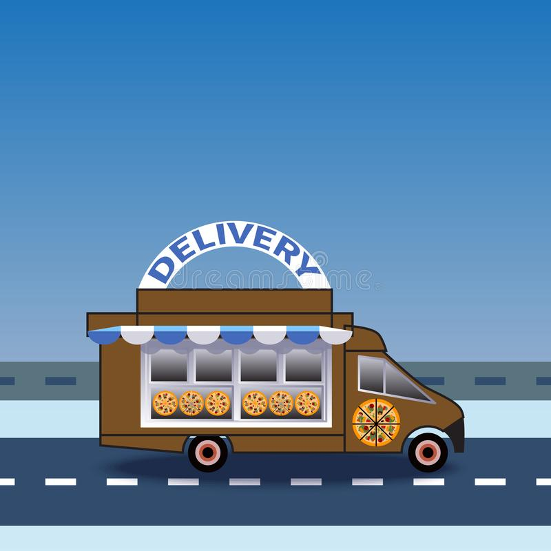食物和比萨在路的送货卡车乘驾 库存照片