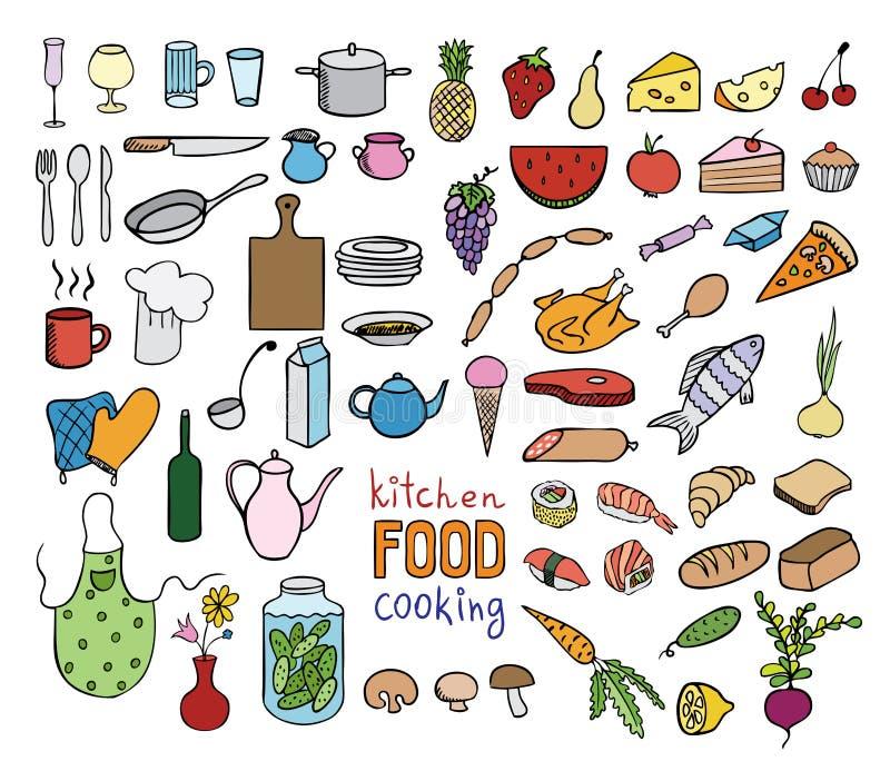 食物和烹调颜色象汇集 库存例证