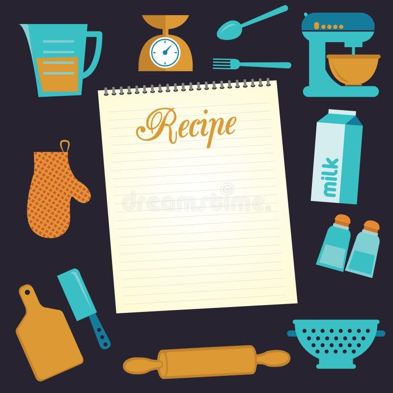 食物和烹调食谱象集合 库存图片