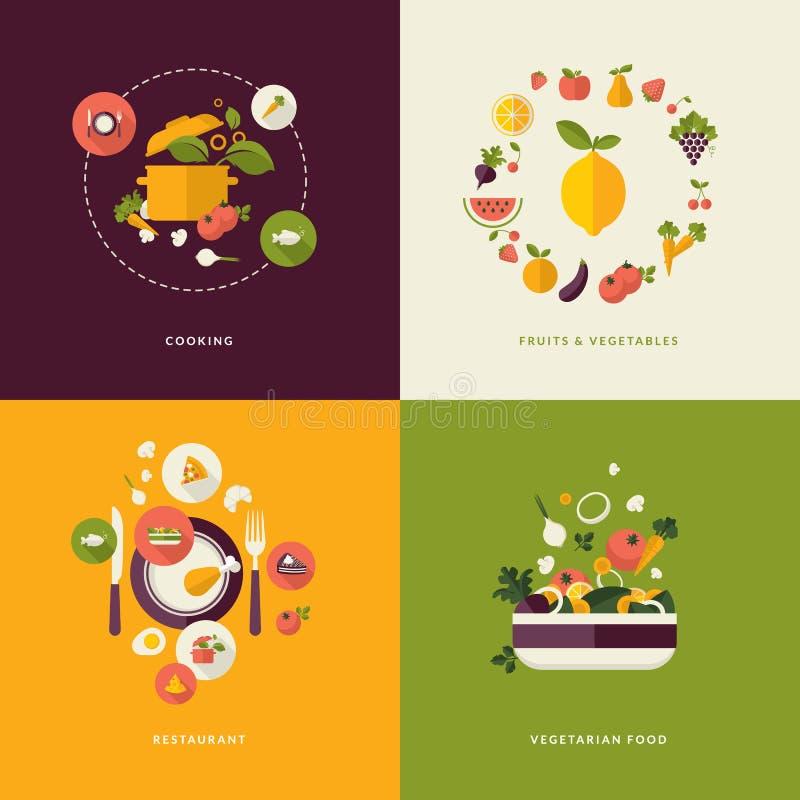 食物和餐馆的平的设计观念象 库存例证
