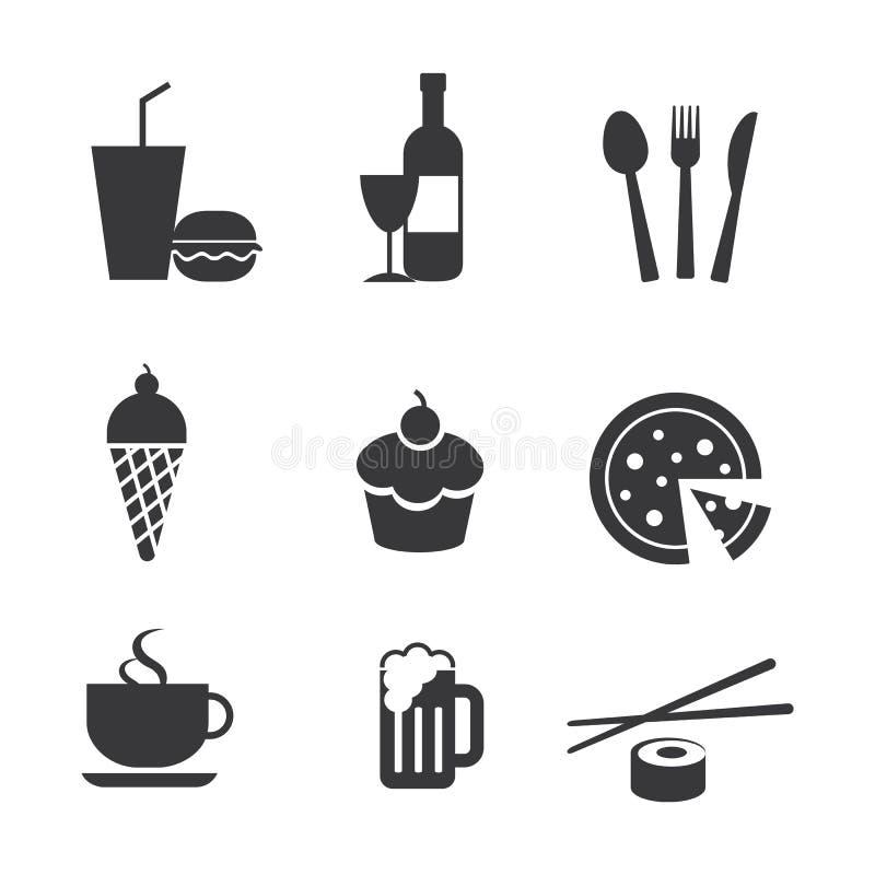 食物和饮料图标 皇族释放例证