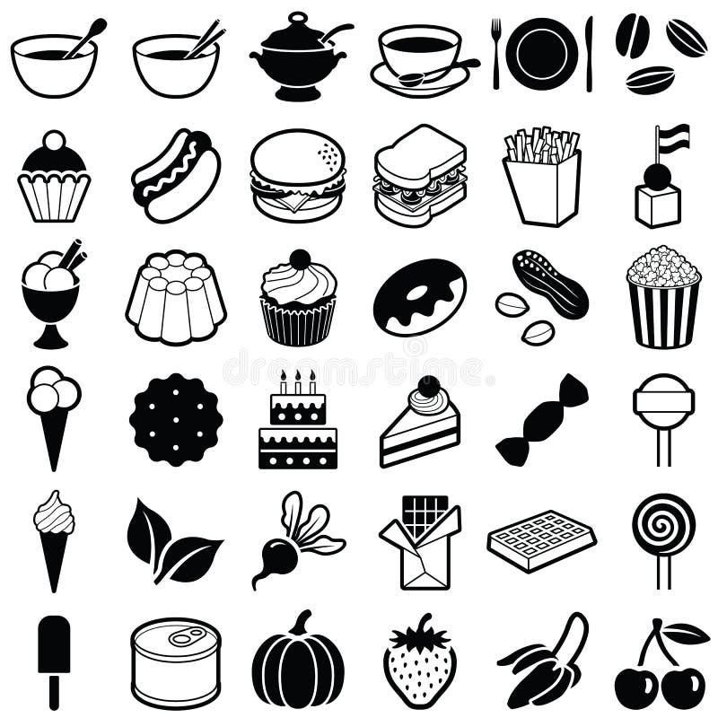 食物和饮料图标 向量例证