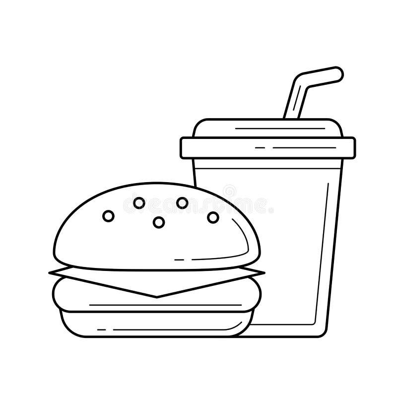食物和饮料外带的传染媒介线象 皇族释放例证