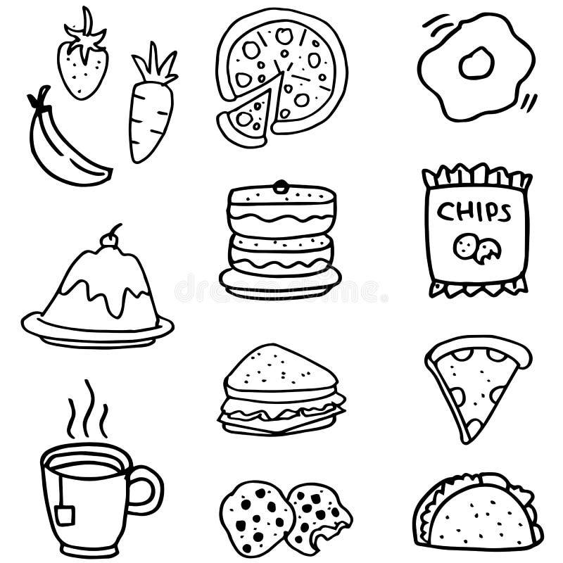 食物和饮料手凹道乱画  库存例证