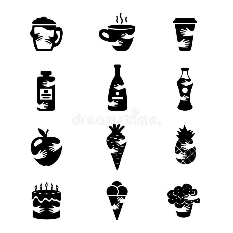 食物和饮料消极空间象集合 热的咖啡、酒精、水果和蔬菜和甜点现出轮廓标志 库存例证