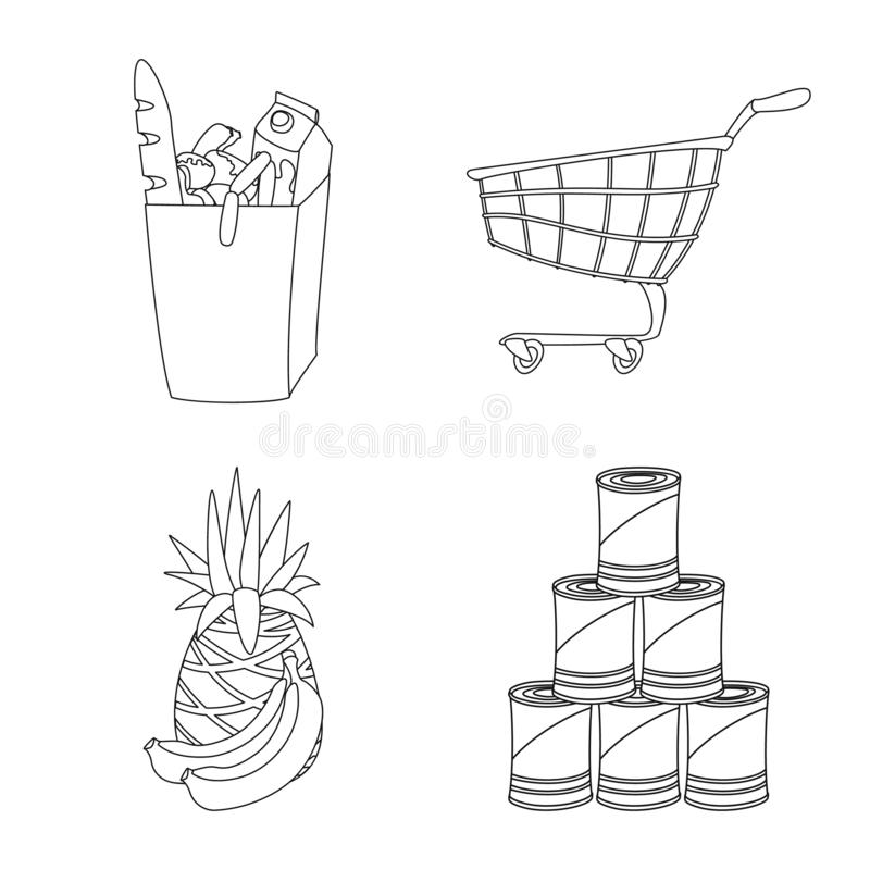 食物和饮料象被隔绝的对象  食物和商店股票的传染媒介象的汇集 库存例证