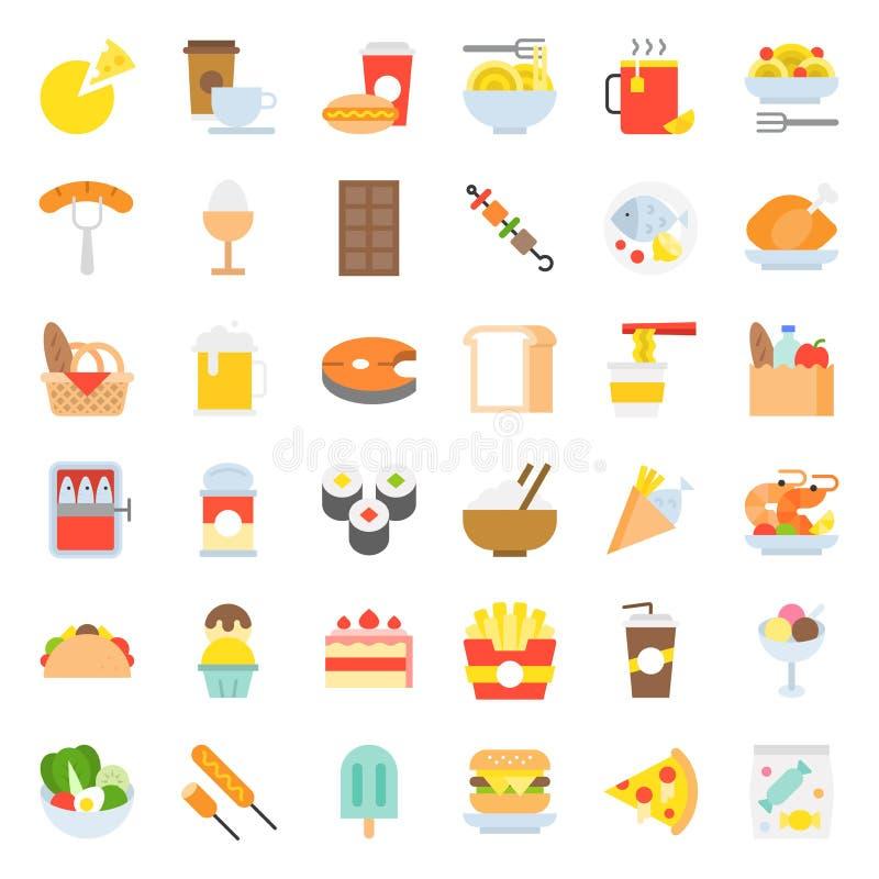 食物和饮料象,美食术概念平的设计 向量例证