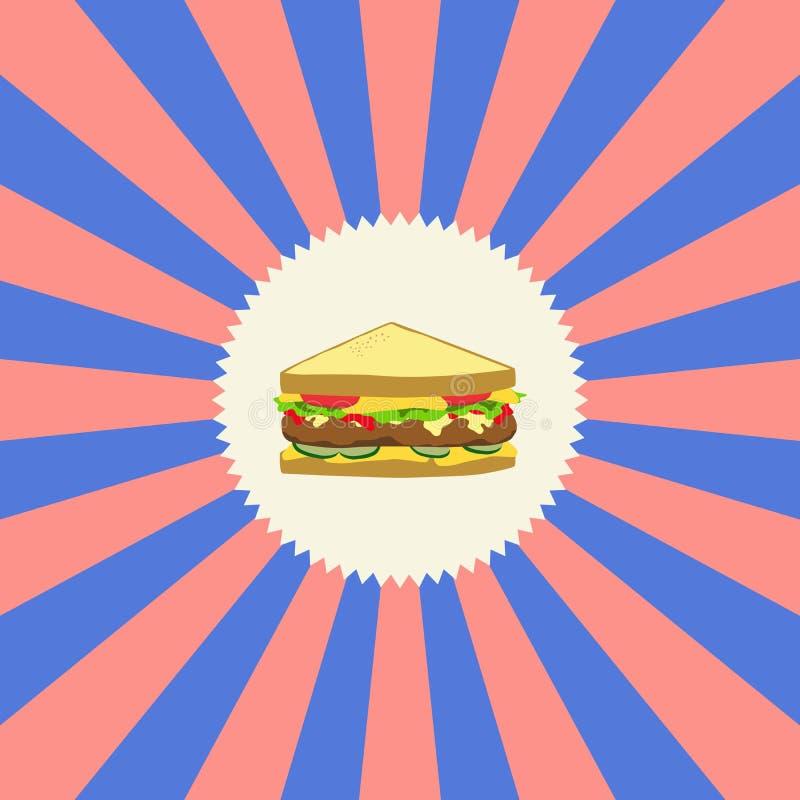 食物和饮料题材三明治 向量例证