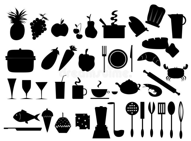 食物图标厨房 向量例证