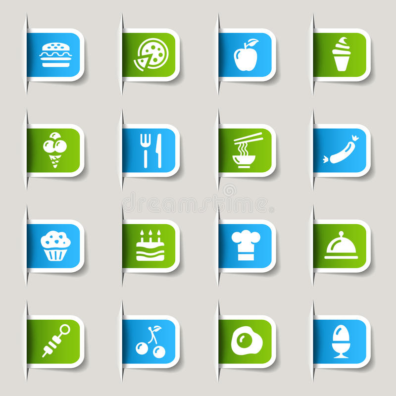 食物图标标签 向量例证