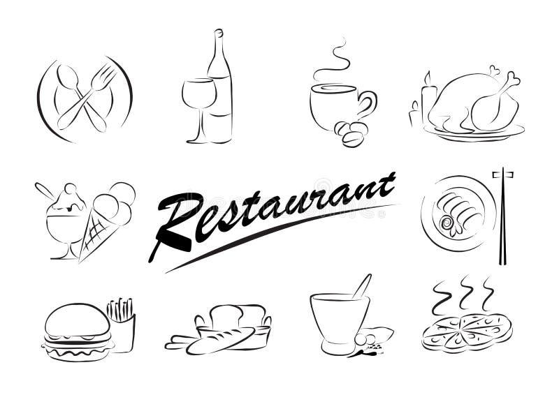 食物图标样式 库存例证