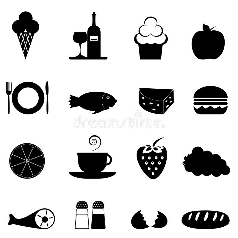 食物图标集 库存例证