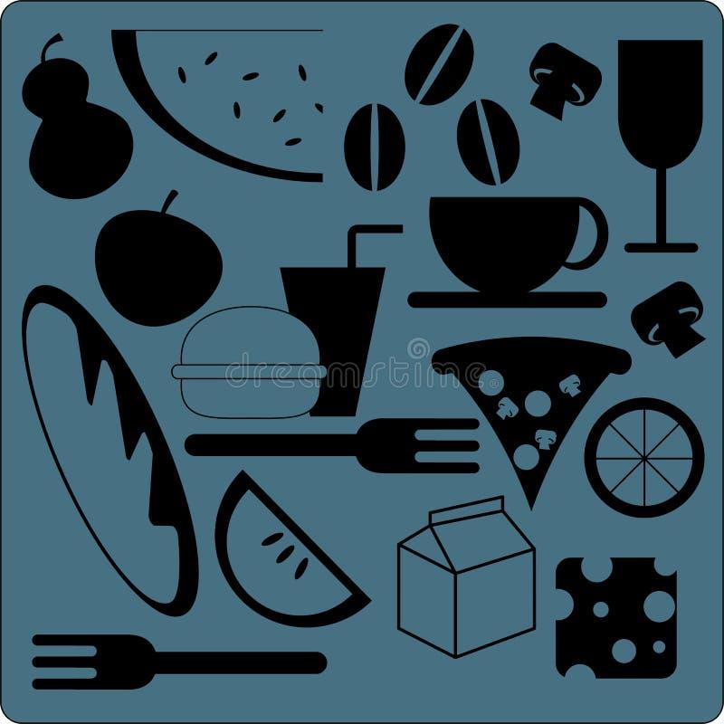 食物图标 皇族释放例证