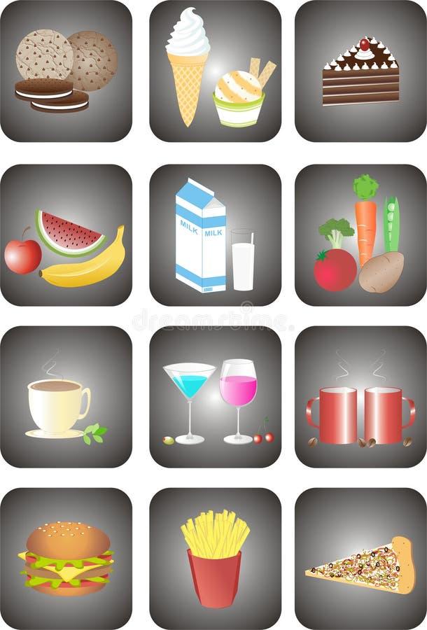 食物图标 向量例证