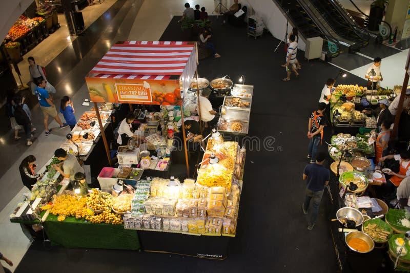 食物在中央节日清迈的促进地区 库存图片