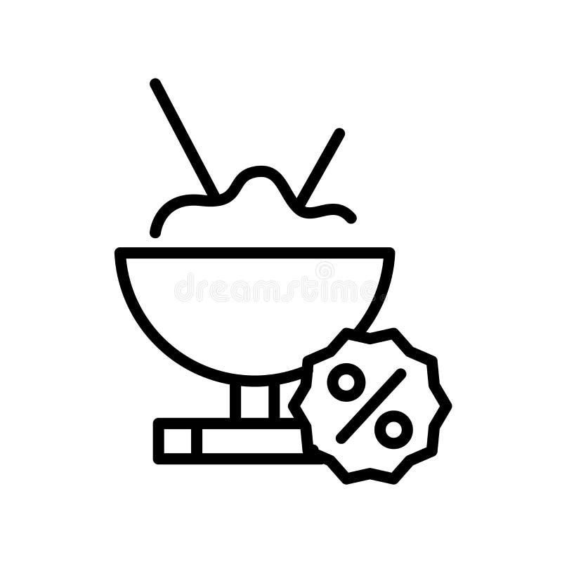 食物在白色背景、食物标志、线标志或在概述样式的线性元素设计隔绝的象传染媒介 库存例证