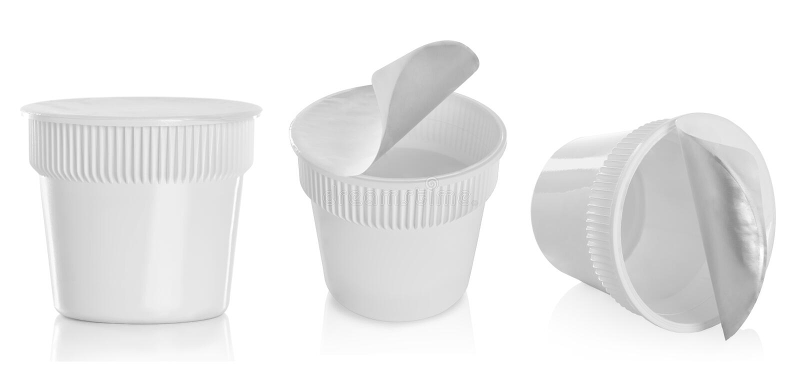 食物塑胶容器,点心,酸奶,冰淇凌,酸性稀奶油 库存照片