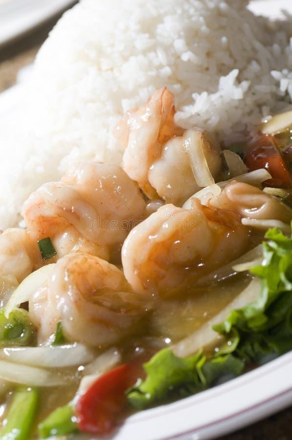 食物姜蜂蜜大虾调味汁嫩煎的越南 免版税图库摄影