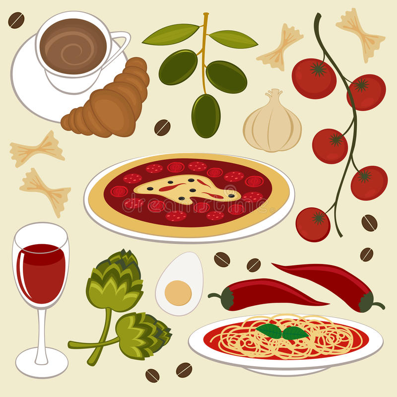 食物意大利语 皇族释放例证
