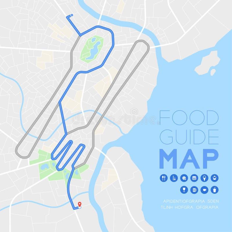 食物指南方向与象概念、路匙子和叉子形状设计的地图旅行在灰色隔绝的白天方式例证 库存例证