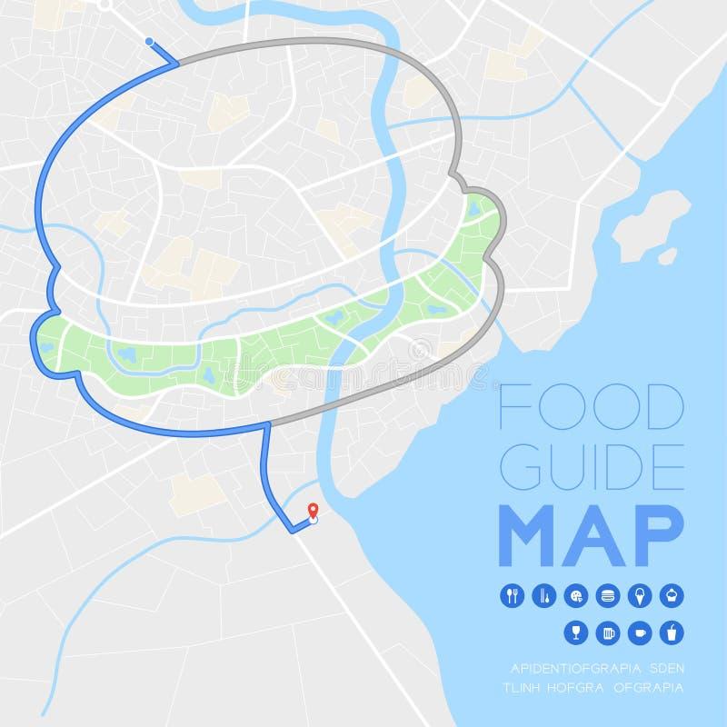 食物指南方向与象概念,路汉堡包在灰色隔绝的白天方式例证的形状设计的地图旅行 皇族释放例证