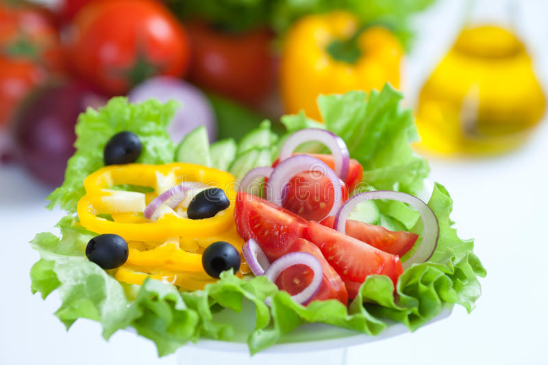 食物新鲜的健康沙拉蔬菜 免版税图库摄影