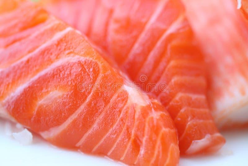 食物日本宏观原始的三文鱼生鱼片 免版税库存照片