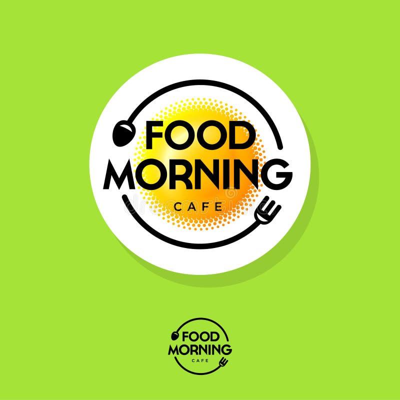 食物早晨商标 早餐咖啡馆象征 煎蛋喜欢太阳、叉子和匙子在绿色背景 向量例证
