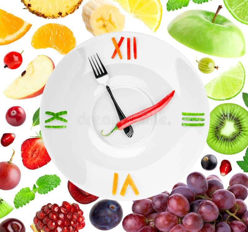 食物时钟用果子 免版税图库摄影